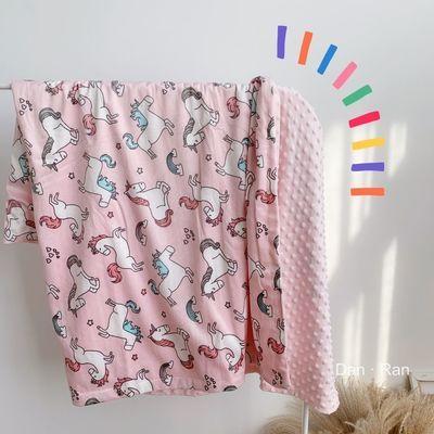18475/亚马逊ins春秋热销婴儿毯宝宝豆豆毯印花双层法兰绒珊瑚绒儿童毯