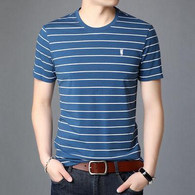 2020男士短袖T恤夏季棉圆领条纹中老年上衣爸爸装宽松休闲半袖T恤