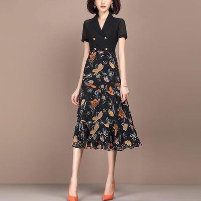 碎花雪纺连衣裙女2020夏季新款短袖气质时尚双排扣黑色拼接a字裙