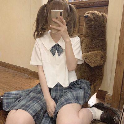 少女学院风JK基础款奶白色女学生方领刺绣宽松短款上衣女短袖衬衫
