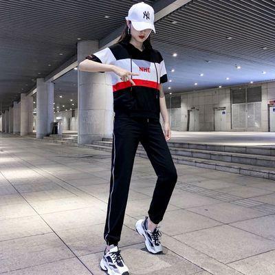 卫衣运动服套装女夏季时尚特色潮ins嘻哈洋气宽松韩版学生两件套