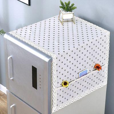 新款简约单双开门冰箱巾防尘罩洗衣机盖布盖巾棉麻布艺万能盖巾