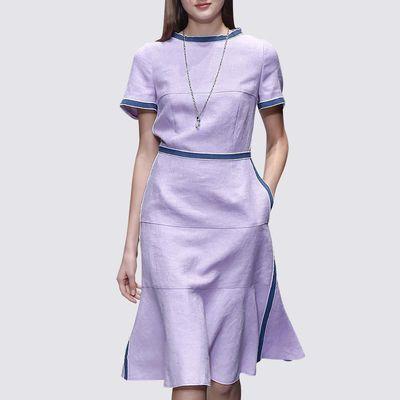 淑女范粉紫色仙气连衣裙2020夏季新款日系甜美拼接小清新裙子潮女