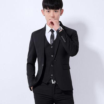 西装套装男三件套商务职业正装西服韩版修身伴郎新郎结婚礼服外套