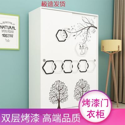 儿童衣柜推拉门简约现代经济型衣柜滑门移门衣橱卡通实木卧室柜子