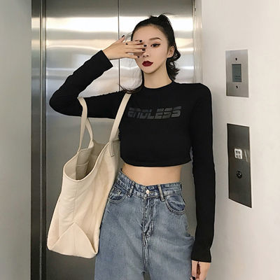 网红同款长袖T恤女春装2019新款港味chic字母修身打底衫短款上衣