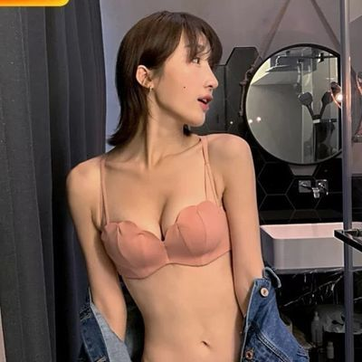 中厚美背少女甜美简约贝壳杯内衣套装性感深V小胸聚拢防滑文胸罩