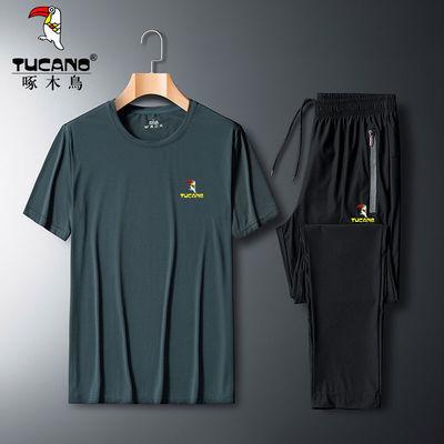 啄木鸟冰丝运动套装男大码薄款短袖运动服男套装速干透气直筒长裤