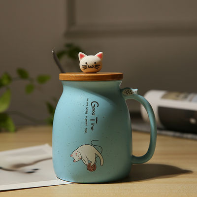 爆款杯子女学生韩版可爱萌萌马克杯猫咪杯带盖勺陶瓷杯牛奶咖啡早