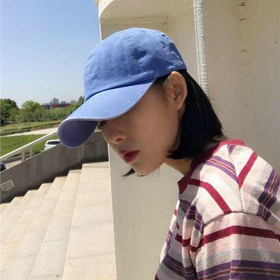 南瓜色鸭舌帽韩国ins网红同款纯棉做旧水洗脏橘色棒球帽子男女
