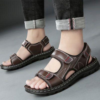 【头层牛皮】夏季真皮男士凉鞋沙滩鞋男潮韩版两穿防滑软底凉拖鞋