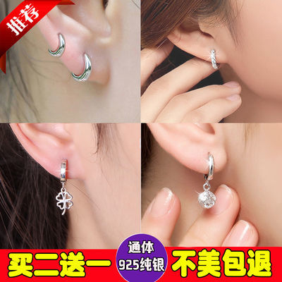 睡觉不用摘正品真纯银耳扣女耳环大小耳圈耳钉水晶防过敏新款耳饰