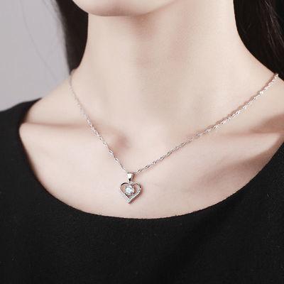 pt950铂金项链心心相印女白金钻石吊坠女款首饰礼物白金