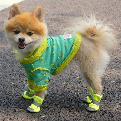 小狗狗泰迪鞋子一套4只比熊防滑防水鞋套宠物博美春夏透气软底鞋