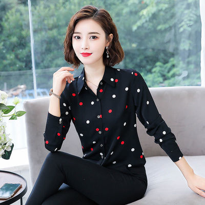 印花衬衫女长袖2020春夏装新款韩版雪纺短袖衬衣显瘦中年妈妈上衣