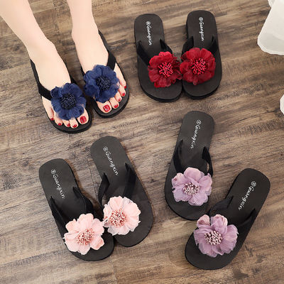 厚底人字拖女花朵拖鞋女夏外穿学生韩版夹脚防滑沙滩鞋高跟凉拖鞋