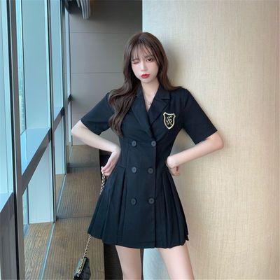 西装连衣裙黑色修身双排扣轻熟风短裙子夏季百褶裙显瘦气质短裙女