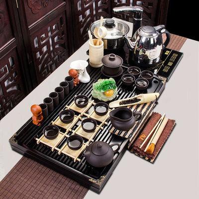 新款整套功夫茶具套装实木乌金石茶盘家用简约四合一电热磁炉喝茶