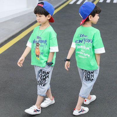 儿童装男童套装2020新款中大童印花T恤韩版帅气牛仔短裤两件套9岁