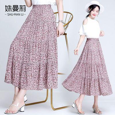 碎花雪纺半身裙中长款高档a字裙夏季新款时尚浪漫气质流行仙女款