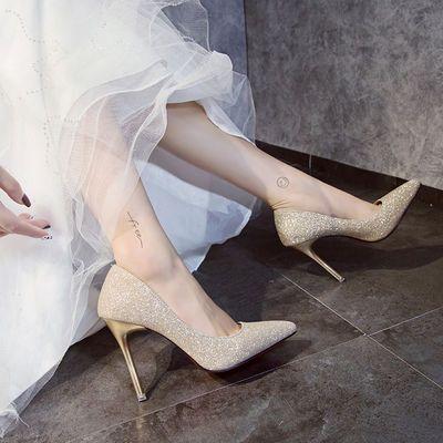 婚纱影楼拍照尖头高跟鞋细跟浅口水钻单鞋银色性感婚鞋新娘女鞋超