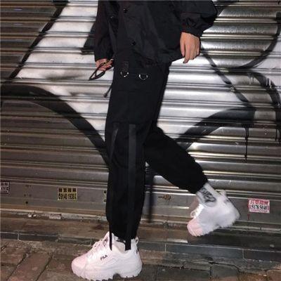 ins超火帅气街头嘻哈织带工装裤原宿bf风宽松百搭男女休闲束脚裤