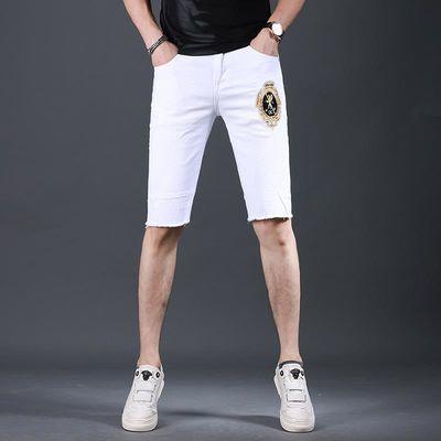 新款白色五分刺绣牛仔裤男士短裤男潮流修身毛边裤子男裤夏季薄款