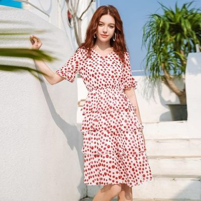 雪纺连衣裙夏装2020新款减龄显瘦气质女神范淑女短袖雪纺裙子女夏