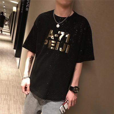 TIM呆呆短袖t恤男2020夏装宽松黑色星空韩版tee中长款ins上衣潮流
