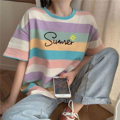 棉质条纹短袖t恤女2020年夏季新款学生韩版宽松网红彩虹上衣ins潮