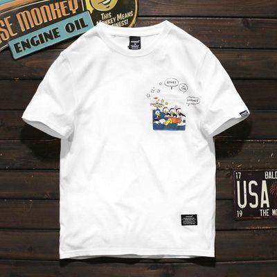 WUHA潮牌夏季新款卡通小鸭子创意口袋TEE港风男女BF风休闲短袖T恤