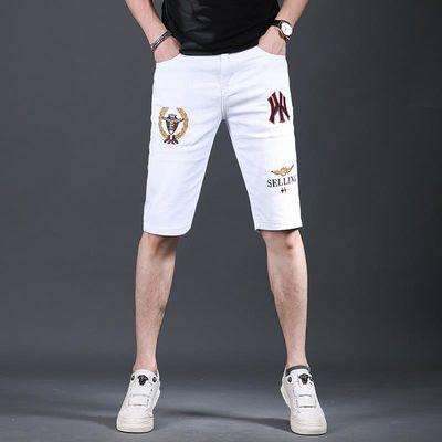 新款潮牌刺绣白色五分牛仔短裤男牛仔裤修身小脚裤子男士夏季薄款