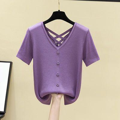 【90-180斤】冰丝短袖T恤女夏新款超大弹力上衣女薄款百搭针织衫