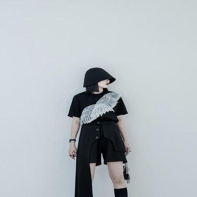 CHICSKY 原创短袖T恤女2020夏季新款黑色小众设计感个性上衣ins潮
