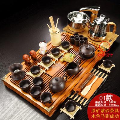 实木茶盘全自动功夫茶具套装整套家用客厅四合一电热磁炉喝茶台海