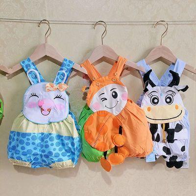 3件婴儿夏装无袖连体哈衣爬服纯棉0-2岁男女宝宝卡通造型包屁衣潮