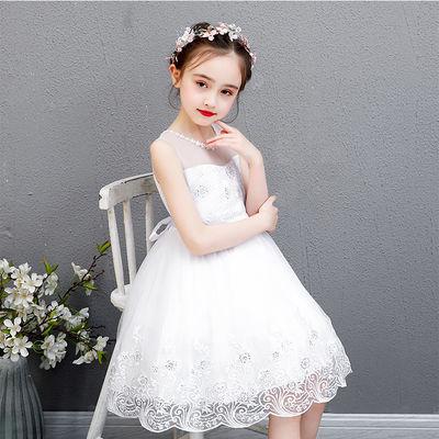 女童连衣裙儿童公主裙洋气花童小女孩走秀演出裙子夏蓬蓬婚纱礼服