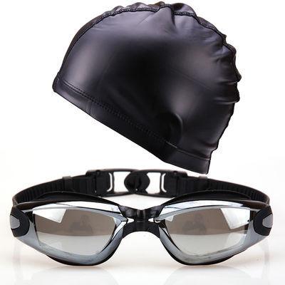 热销新款电镀防水防雾泳镜男女高清游泳镜连体耳塞大框竞速潜水镜