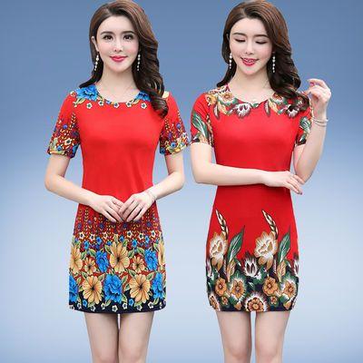 年轻妈妈装夏季薄款连衣裙40岁50中老年女装大码宽松气质短袖裙子