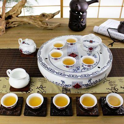 12寸潮汕功夫茶具套装陶瓷青花瓷双层隔热整套带圆形茶盘储水茶船