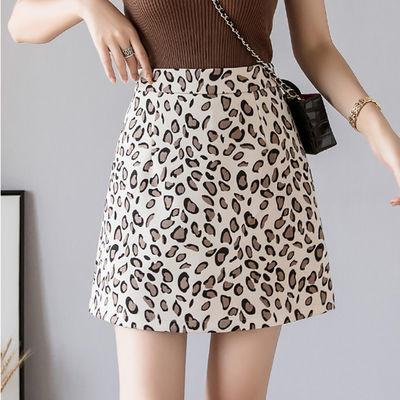 豹纹a字半身裙女夏新款韩版百搭高腰裙显瘦短裙性感时尚包臀裙