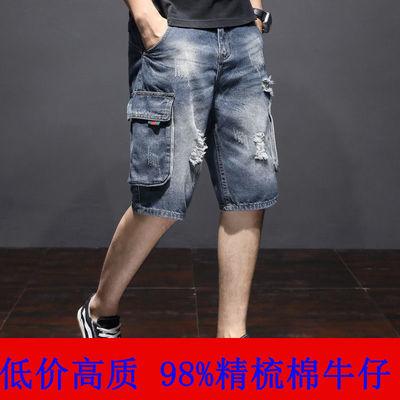 工装短裤男五分裤男装大码牛仔短裤男宽松破洞中裤男士七分裤夏季