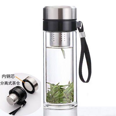 便携双层玻璃杯子耐热防烫泡茶杯男女学生办公杯家用玻璃水杯车载
