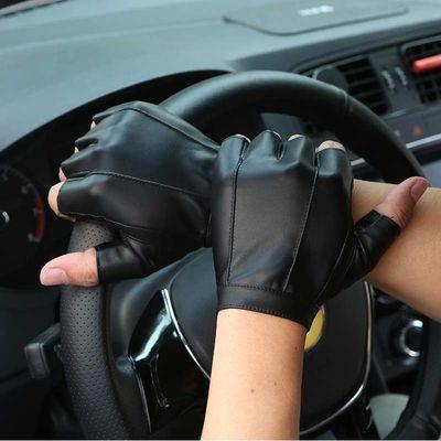 家用半指皮手套男女春夏季健身运动加绒保暖战术骑行防滑开车半截