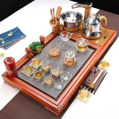 品茶论道紫砂功夫茶具套装家用全自动四合一实木茶盘整套茶杯