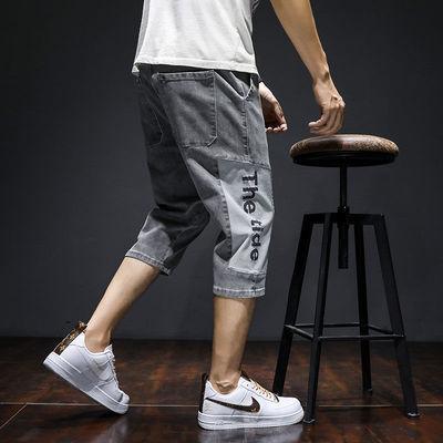 夏季薄款牛仔短裤男潮七分宽松直筒韩版潮流休闲潮牌男士7分裤子