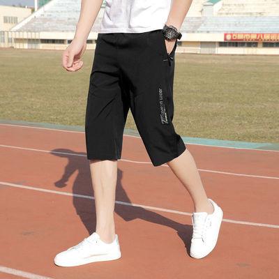 夏季运动短裤男潮流薄款男士休闲裤子7七分裤宽松速干潮6大码中裤