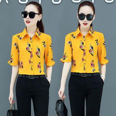 2020夏季新款韩版衬衫女短袖修身百搭印花衬衣雪纺衫女士显瘦衬衣