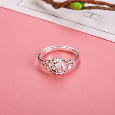 热销纯银戒指 990足银玫瑰花开口活口女戒指可调节银戒指情侣戒指