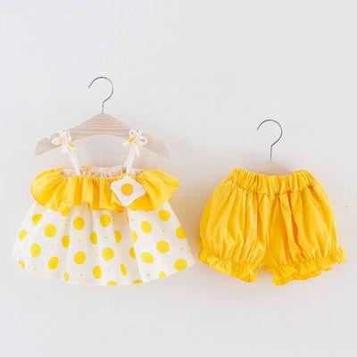 爆款0-4岁女童夏款裙子套装2布波点吊带裙两件套6个月婴儿色短裤